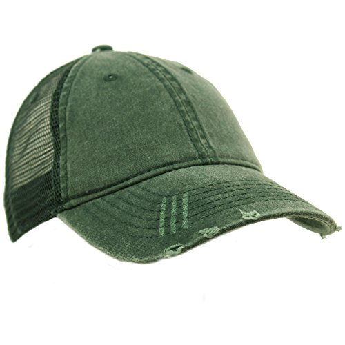 (Unisex Distressed Low Profile Trucker Mesh Summer Baseball Sun Cap Hat Green)
