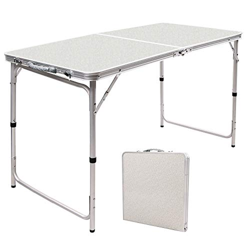RedSwing Aluminum Folding Table 4 Feet, Adjustable Height Lightweight Portable Camping Table for Picnic Beach Outdoor Indoor, 47.2''x23.6''x22''/27''