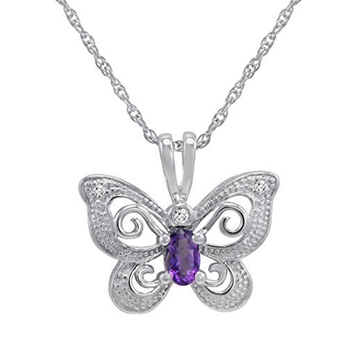 Sterling Silver Amethyst Butterfly Pendant - 8