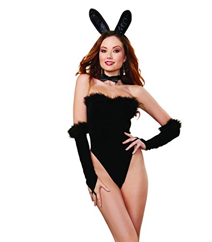 Dreamgirl Women's Sexy Bunny Stretch Velvet Strapless Teddy with Marabou Trim, Black, One Size (Sexy Bunny Lingerie)