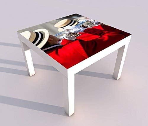 Diseño - Mesa con UV Impresión 55x55cm Música Trompeta Concierto Parade Mesa de Juegos Laca Tablas Imágenes Dormitorio Infantil Mueble 18A1727-55x55cm: Amazon.es: Hogar