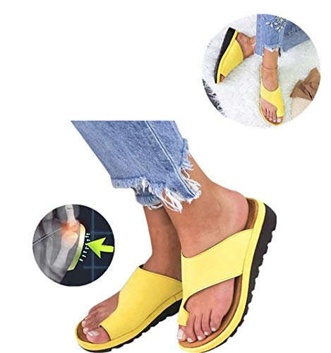 2019 New Women Comfy Platform Toe Ring Wedge Sandals Shoes Summer Beach Travel Shoes Comfortable Flip Flop Shoes Peep Toe Sandals Women Comfy Platform Sandal Shoes (10, Yellow)