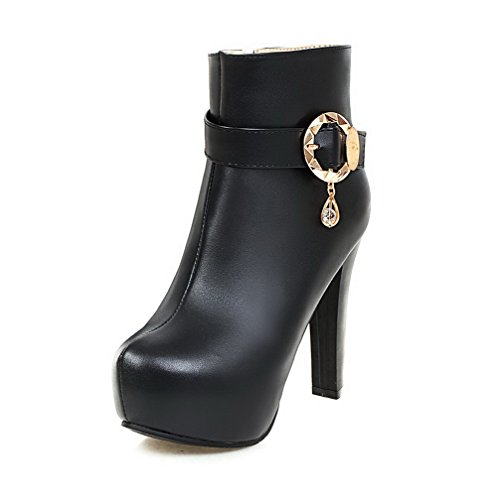 with Heels Toe Closed Boots Top Soft WeiPoot Metal High Women's Low Zipper Round Black Material RTqRx07vw