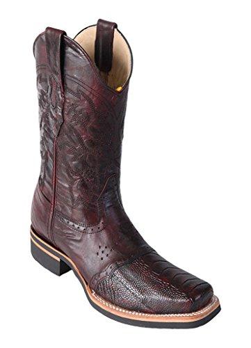 Black Cherry Ostrich Leg (Los Altos Men's Wide Square Black Cherry Genuine Leather Ostrich Leg Skin Rodeo Boots With Saddle)
