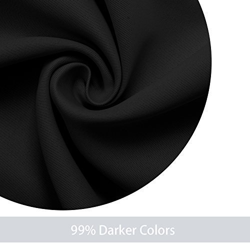 DWCN Blackout Curtains Room Darkening Thermal Insulated Grommet Window Curtain for Bedroom Living Room 42 x 63 Inch 1 Panel, Black Thick Curtain