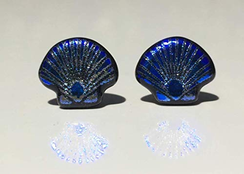 Blue Scallop Shell Laser Engraved Etched Dichroic Fused Glass Stud Earrings with Solid Sterling Silver ()