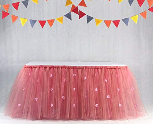 (DIY Tulle Tutu Table Skirt Rose Petal Table Skirting Baby Shower Birthday Banquet Wedding Table Decoration 91.580Cm navy pink)