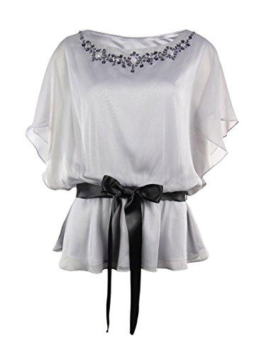J.R. Nites Women's Belted Chiffon Blouse (6, ()