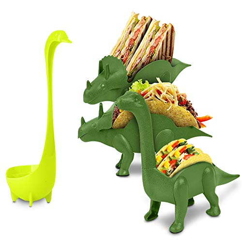 (Dinosaur Taco Holder Set by East World - Tacosaur Tribe with BrontoSpoon Ladle - 3x Dino Stands for 6x Jurassic Tacos! Triceratops Taco Stand Holder, Taco Truck or Kids Plastic Novelty Taco Plates)