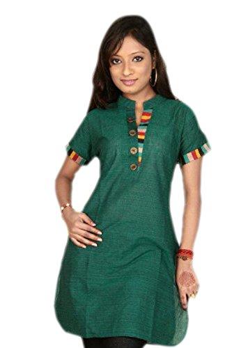 jayayamala Green Cotton Tunika Ansatz-Kragen-Knopf Arbeits-Hemd-Sommer-Kleid