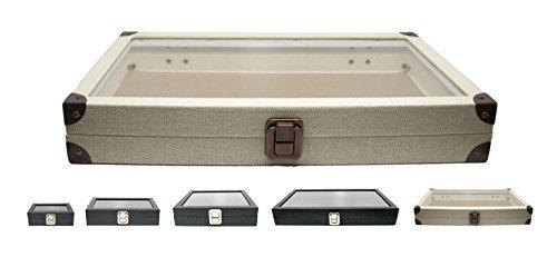 Novel Box Glass Top Linen Light Beige Metal Clasp Jewelry Display Case 14.75X8.25X2.1
