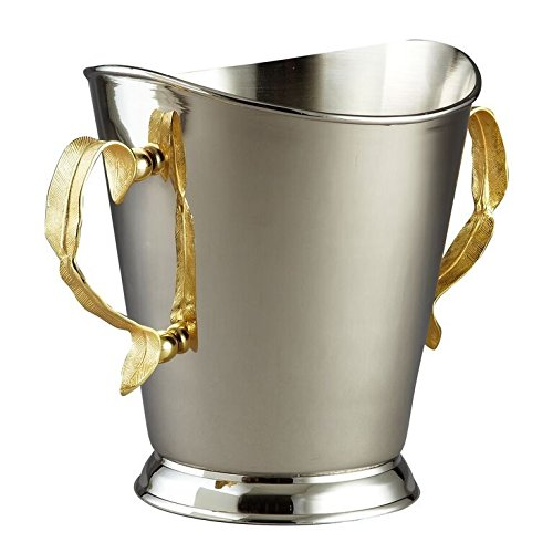 Silver Touch Gold Leave Stainless Steel Champagne/Wine Ice Bucket - Wedding, Anniversary Rustic Elegant