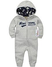 Vine Sparkdräkt med huva för baby nyfödd bomull långärmad bodysuits dragkedja kläder