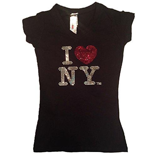 I Love New York Bedazzled Rhinestone Womens T-Shirt (XL)