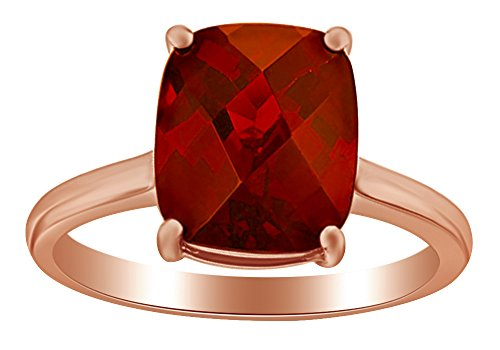 AFFY 1.75 Ct Cushion Cut Red Simulated Garnet Solitaire Engagement Ring in 14k Rose Gold Over Sterling Silver ()