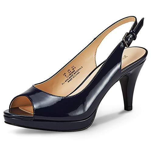 High Heel Patent Leather Sandals - JENN ARDOR Women's Slingback Pumps Stiletto High Heels Ladies Peep Toe Patent Leather Sandals Dress Party Platform Shoes Dark Blue 7.5 (9.6in)