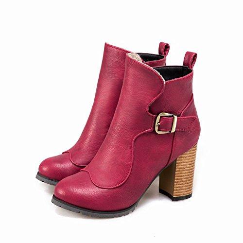 Mee Shoes Damen chunky heels runde Kurzstiefel Rosarot