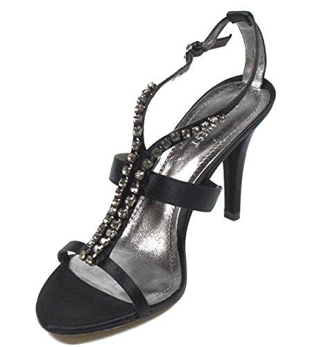 NINE WEST - Sandalia De La Correa Del Tobillo Para Mujer NWJAZZY BLACK Tacón: 10 cm