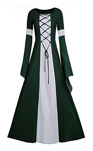 Meilidress Women Medieval Dress Lace Up Vintage Floor Length Cosplay Retro Long Dress (XXX-Large, -