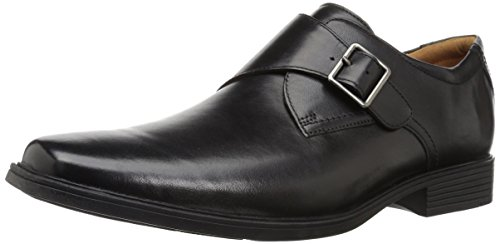 CLARKS Men's Tilden Style Monk-Strap Loafer, Black Leather, 090 M US by CLARKS