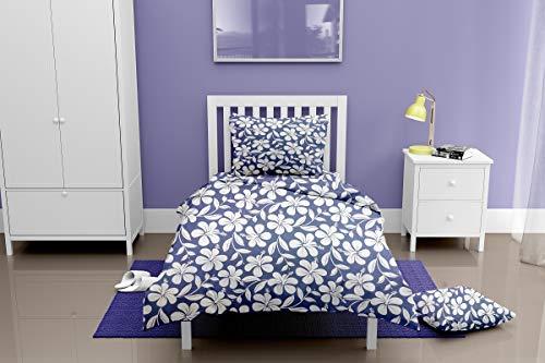 Singhs Villas Decor Present Ultra Soft Blue White Flower Single bedsheet with 1 Pillow Covers