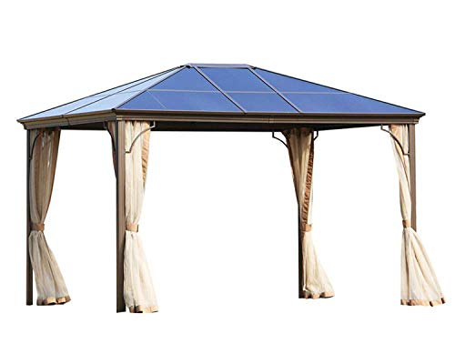 Patiomore Outdoor Garden Gazebo 12 x 10 FT Patios Gazebo Beige Canopy Permanent PVC Hardtop Mosquito Netting, Front Porch