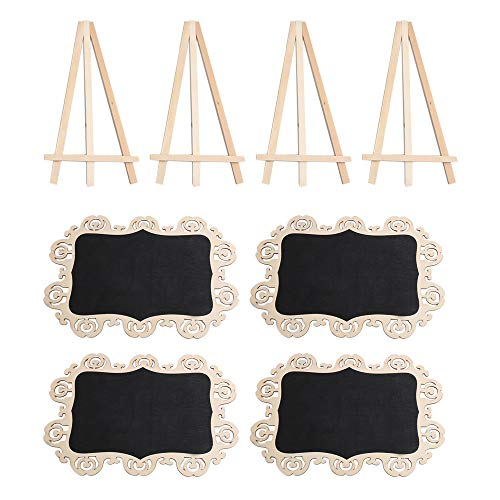 homeswitch 4Pieces 20x30cm Octagon Wooden Wedding Mini Message Board Note Blackboard Chalkboard with Sturdy Tripod Stand
