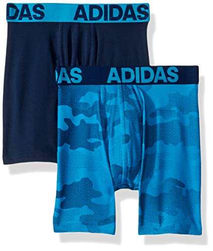 adidas Boys / Youth  Sport Performance Climalite Boxer Brief Underwear (2-Pack), camo/solar blue/collegiate navy, Large ()