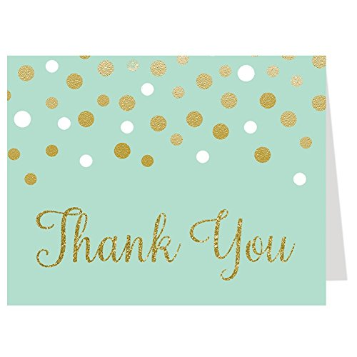 Baby Shower, Thank You Cards, Gold, Confetti, Pink, Blush, Mint, Green, Girls, Boys, Twins, Gender Netural, Bubbly, Glitter, Sprinkle, 50 Printed Folding Notes with Envelopes,, Unisex