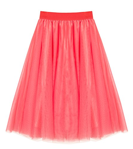 Women's A Line Knee Length Tutu Tulle Prom Party Dance Skirt (M-L, Watermelon Red)