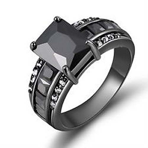 Topaz Jewel Rose - YD Jewels - Trendy Black Topaz Unsex Jewelry Size 7-11 Luxury Black Gold Filled Ring