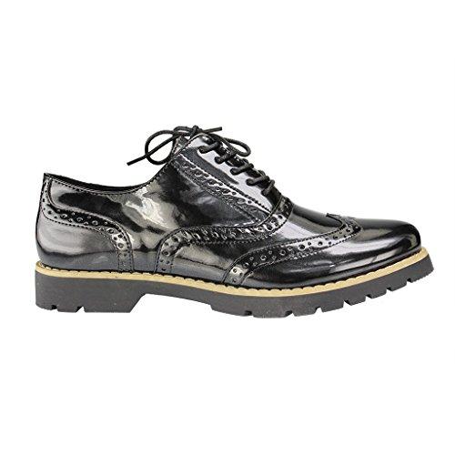 Fitters Footwear Isabelle - Damen Halbschuhe - Lack Schwarz Schuhe in Übergrößen