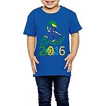 Kim Lennon 2016 Brazil Torch Relay Short Sleeve Kids T Shirt Casual Size 2 Toddler RoyalBlue