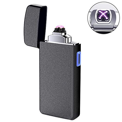 Lighter, Electric Arc Lighter USB Rechargeable Double Arc Lighter Plasma Beam Flameless Windproof Lighter for Candles BBQ Camping(Frosted)