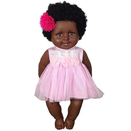 (Sikye 20inch Soft Silica Gel Kid Baby Playmate Black Skin Lifelike Reborn Baby Girl Play Dolls Toy)