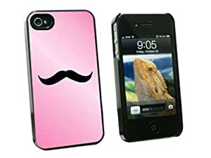 Graphics and More Mustache Funny Pink Snap-On Hard Protective Case for Apple iPhone 4/4S - Non-Retail Packaging - Black by runtopwell
