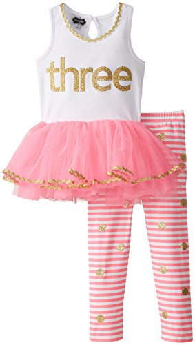 Price comparison product image Mud Pie Toddler Girls' Birthday 2 Piece Set,  Gold Three