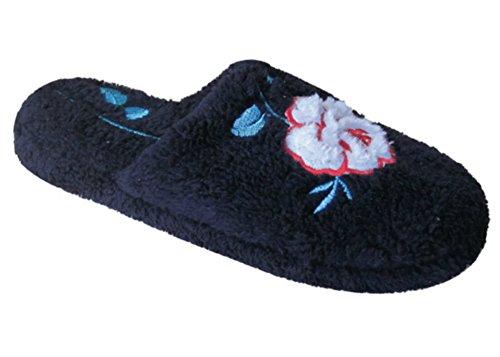 Nieuwe Dames Microterry Spa Slide House Slippers Geaccentueerd Met Geborduurde Rose Zwart