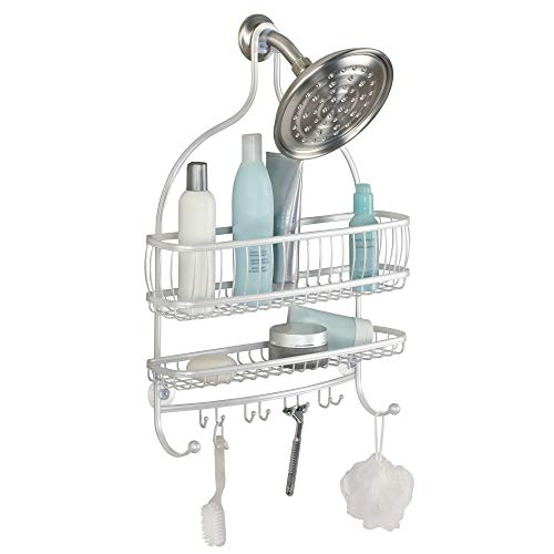 (iDesign York Metal Extra Wide Hanging Shower Caddy for Shampoo, Conditioner, and Soap with Hooks for Razors, Towels, Loofahs, and More, 16
