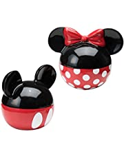 Vandor Disney Mickey and Minnie Mouse Ceramic Salt and Pepper Set, Red/Black