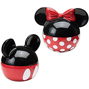 Vandor 89030 Disney Mickey and Minnie Mouse Ceramic Salt and Pepper Set, Red/Black