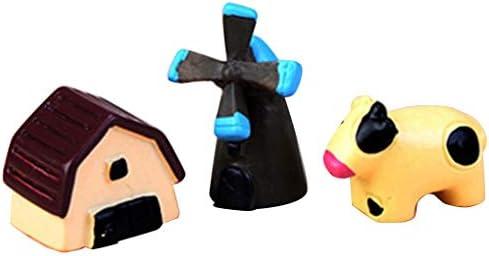 Mengonee 3pcs / Set Miniatura Elefante Gato Artificial Mini Erizo Perro Cerdo Burro Animal de la Historieta Figurita Micro Paisaje decoración de la Tabla