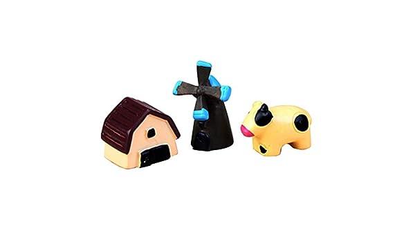 Mengonee 3pcs / Set Miniatura Elefante Gato Artificial Mini Erizo Perro Cerdo Burro Animal de la Historieta Figurita Micro Paisaje decoración de la Tabla: ...