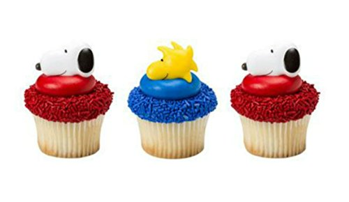 peanuts-snoopy-woodstock-cupcake-rings-24-party-favor-cake-topper-2-dozen