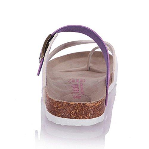 RAZAMAZA Mujeres zapatos slide Sandalias Clip pies Sandalias playa Hebilla P¨²rpura