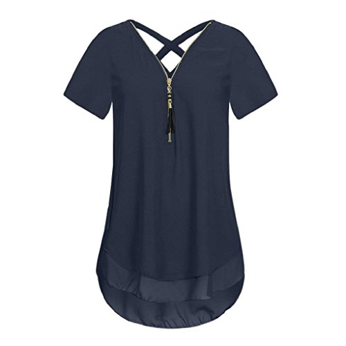 Bluse Ärmellos Hemdbluse T Marine Ausschnitt T Damen Shirt Frauen V Unregelmäßigkeit Tops Rovinci Chiffon Vorne zurück Reißverschluss Tank aushöhlen Unterhemd Elegant shirt Weste Sommer 7wtqXE