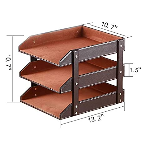 Letter Trays Stacking Leather Office Desk Supply Organizer 3-Tier Files Sorter Workplace Desktop Storage Holder for Document//Paper//Stationery//Magazine//Newspaper//Mail//Sundries Black