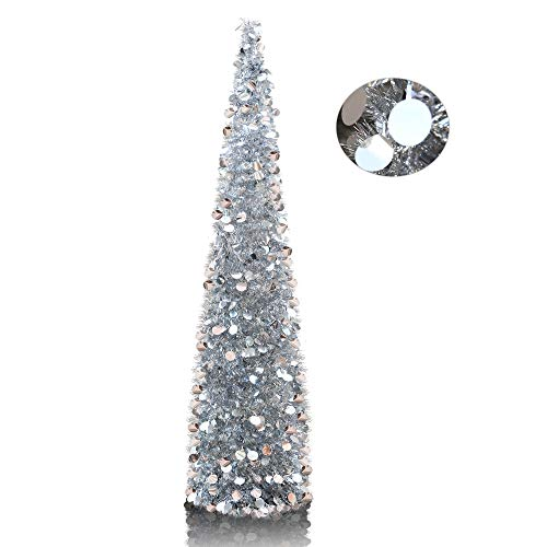YuQi 5' Silver Pop-Up Artificial Christmas Tree,Collapsible Pencil Christmas Trees for Apartments,Dorm Rooms,Fireplace or Party (Christmas Tree Sparkle)