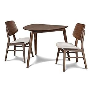 New-Classic-Furniture-40-1651-D2C-Mid-Century-Modern-Oscar-Corner-Table-3-Piece-Dining-Set-Walnut