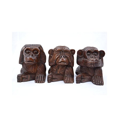 Artisanal Le 3 scimmiette segreto della felicità, H15cm, statuette in legno massiccio